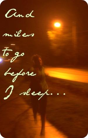 A girl running at night