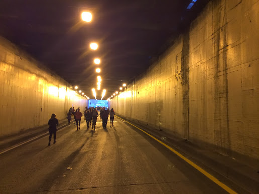 Running through the battery street tunnel